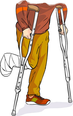 Vector illustration of a with bandaged foot walking on crutches 向量圖像