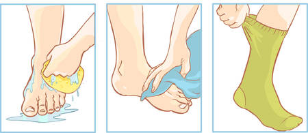 hands massage: Vector illustration of a medical foot care