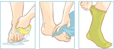 oler: Vector ilustración de un cuidado de los pies médica Vectores