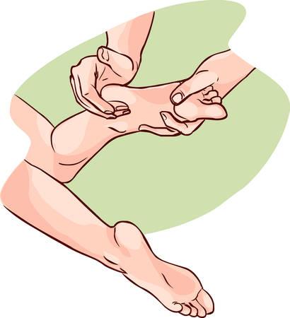 calcanhares: Ilustração do vetor de aphysiotherapist fazer reflexologia em um pé de pacientes Ilustração