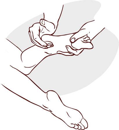 Vector illustration of aphysiotherapist doing reflexology on a patient feet Illustration