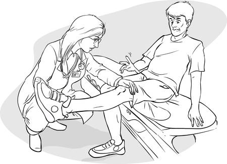 see a doctor: Vector illustration of a doctor  legs examination