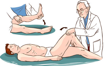 physiotherapist: Vector illustration of a  medical patient and physiotherapist Illustration