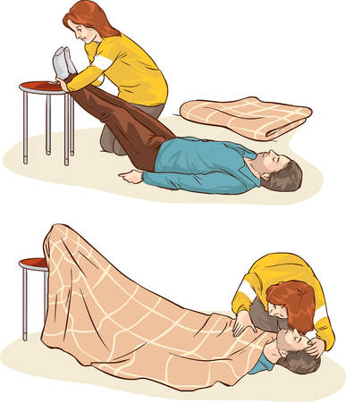 Vector illustration of a fainting in shock and first aid Illustration
