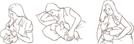 Stillen Posen, Set von Mutter und Kind, Stillen Positionen