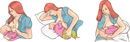 Ilustración de un bebé de la mujer técnicas de lactancia Foto de archivo - 52745685