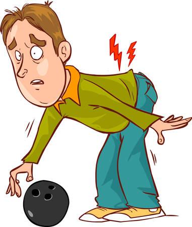 Vector illustration d'un mal de dos de personnage de dessin animé Banque d'images - 52745690