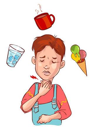 Vector Illustration eines Halsschmerzen Kind Standard-Bild - 52745971