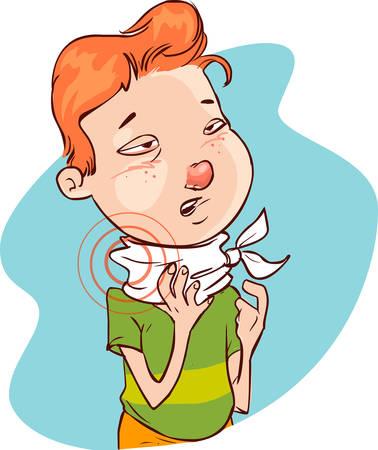 Ilustración vectorial de una enfermedad throatache (niño) Ilustración de vector