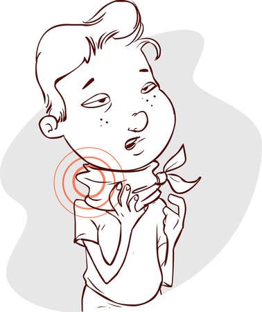 cough medicine: Vector illustration of a  disease throatache (child) Illustration