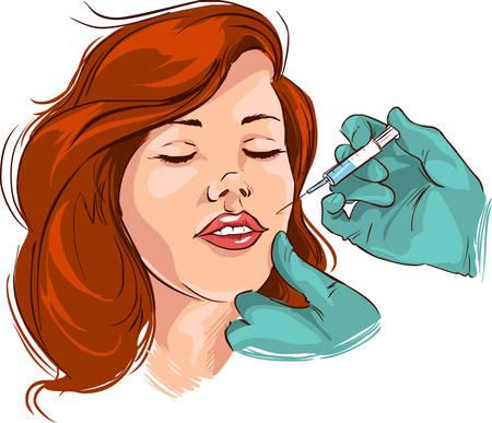 Ilustración vectorial de un tratamiento de arrugas faciales médica