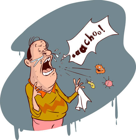 blowing nose: Vector illustration of  a  cartoon The man sneezes Illustration
