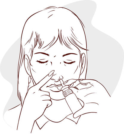 wash: ilustración vectorial de una mujer usando la medicación en aerosol nasal Vectores