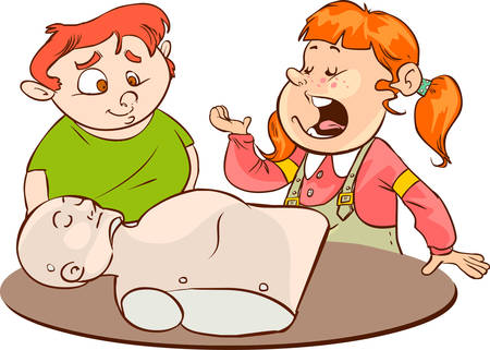 A vector illustration of kids practicing CPR on a mannequin with their instructor