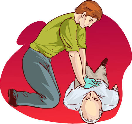 white backround Vector illustration of a Cardiopulmonary resuscitation Vettoriali