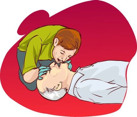 cpr: red backround Vector illustration of a Cardiopulmonary resuscitation