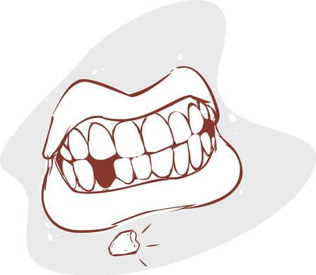 białych ilustracji wektorowych backround połamanymi zębami Ilustracje wektorowe