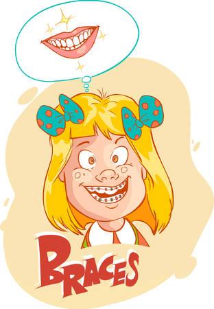 braces: Vector illustration of a little girl with braces illustration