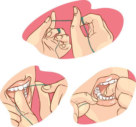 red background Vector illustration of a flossing Vectores