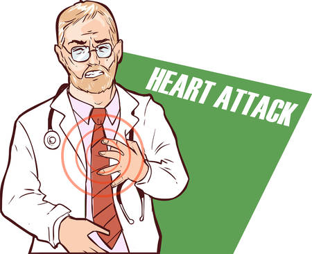 doctor who: Vector illustration of a The doctor who had a heart attack