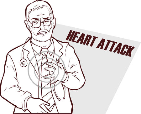 heart attack: Vector illustration of a The doctor who had a heart attack