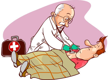 Vector illustration of a doctor and patient examination Çizim
