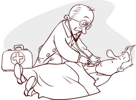 doctor and patient vector: Vector illustration of a doctor and patient examination Illustration