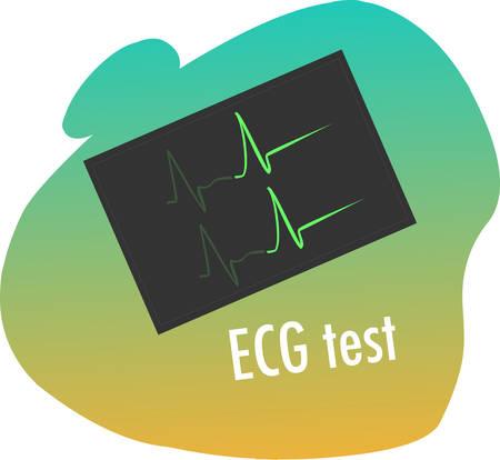 coke: green backround vector illustration of a ecg test Illustration