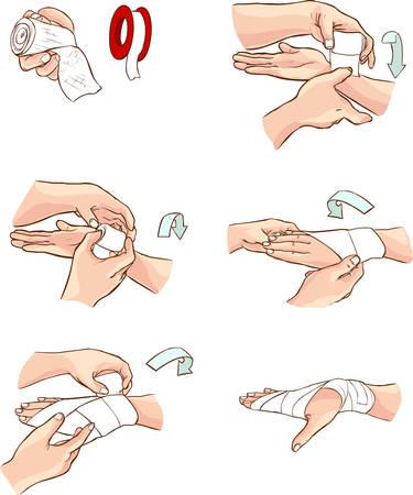 Weißen Hintergrund Vector Illustration einer Handbandage Standard-Bild - 52746705