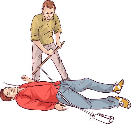 descarga electrica: apaisada blanco Ilustraci�n vectorial de una descarga el�ctrica de primeros auxilios Vectores