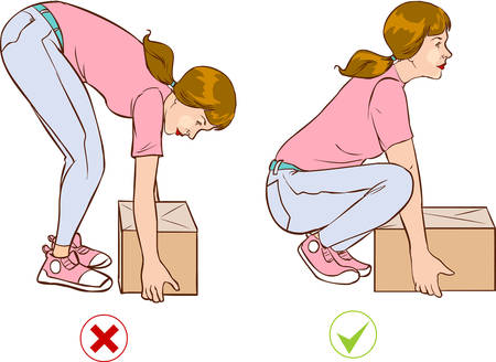 ergonomics: Vector illustration of a  Safe handling of heavy items, woman