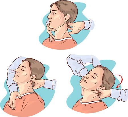 Vector Illustration eines Gonstead Chiropraktik für akute Nackenschmerzen
