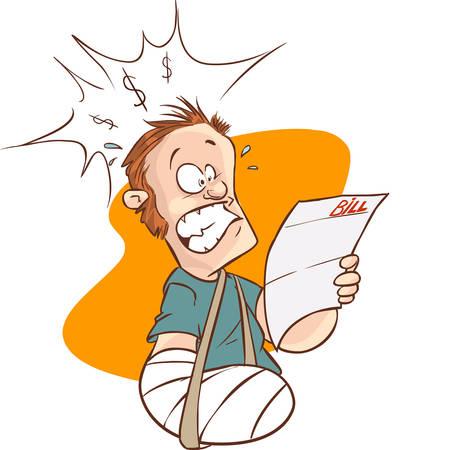medical bills: Vector illustration of aman with broken arm and hospital bills