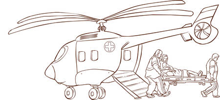 woman male: Vector illustration of a red helicopter ambulance