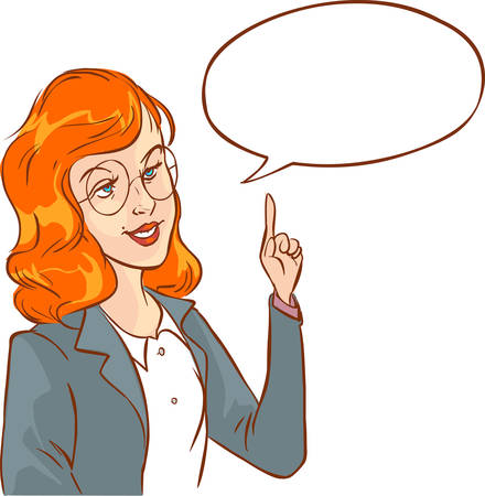 description: Attractive successful woman speaking with speech bubble.