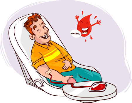lying in bed: white background vector illustration of a blood donation