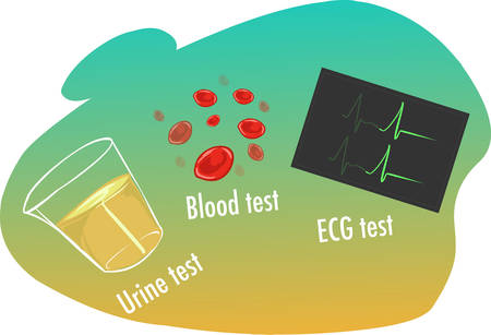 doctor exam: vector illustration of a  High blood pressure tests