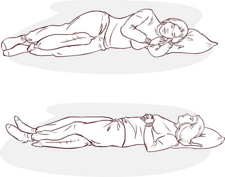 snore: white background vector illustration of a sleeping positions