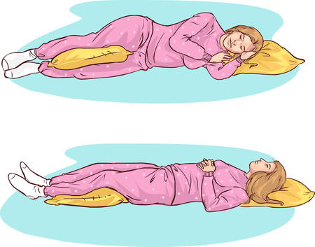 woman sleep: white background vector illustration of a sleeping positions