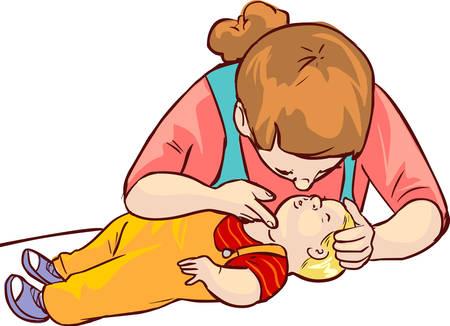 fondo blanco ilustración vectorial de un bebé de primeros auxilios Ilustración de vector