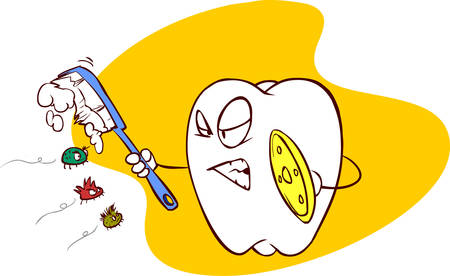 bad breath: yellow  background vector illustration of a  war with bacteria