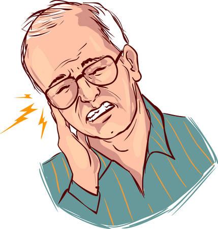 dolor de oido: fondo blanco ilustración vectorial de un dolor de oído