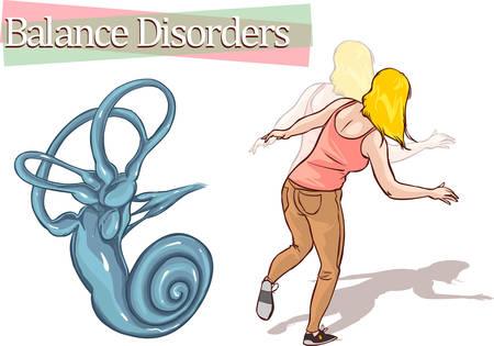eardrum: white background vector illustration of abalance disorder