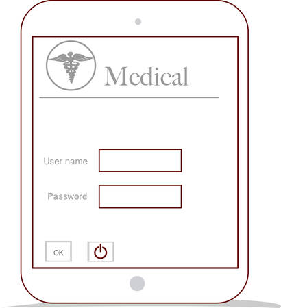 essays: modern tablet computer and virtual interface as medical concept