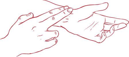 taking pulse: white background vector illustration of a pulse measurement Illustration