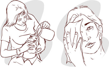 oppose: vector illustration of a nurse washing the patients eyes with water