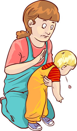 fondo blanco ilustración vectorial de un bebé de primeros auxilios