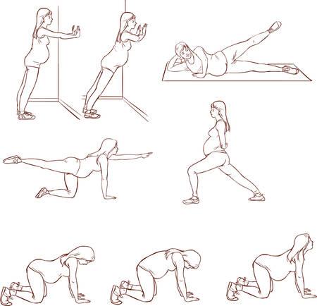 vector illustration of a pregnant exercises sets Illustration
