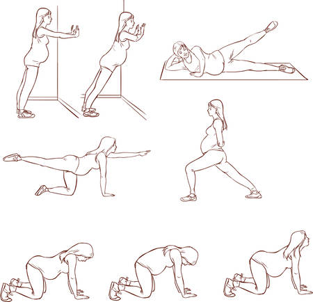 ilustración vectorial de una mujer embarazada de ejercicios conjuntos