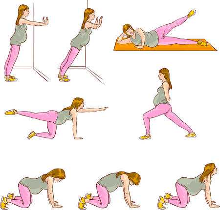 vector illustration of a pregnant exercises sets Illustration